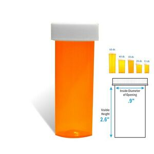 6 Dram Amber Prescription Vials Safety Cap 25 pack