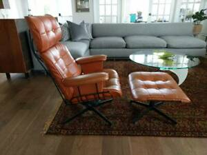 Mid Century Homecrest Lounge Arm Chair W Ottoman Herman Miller Eames Style