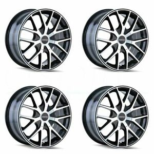 16x7 Touren Tr60 5x110 5x115 42 Black Machined Black Ring Wheels Rims Set 4