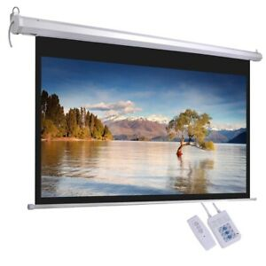 92 16 9 Electric Motorized Projector Screen W Remote Control Movie Projection