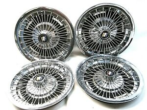 Set Four 4 15 Buick Wire Wheel Covers Tri shield 1960 s Electra Lesabre