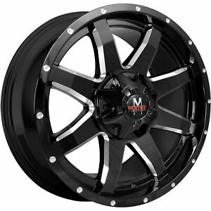 18x9 Off Road Monster M08 6x135 6x5 5 0 Black Milled Wheels Rims Set 4