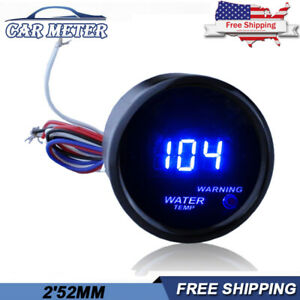 2 52mm Blue Digital Water Temp Temperature Fahrenheit Gauge Car Meter