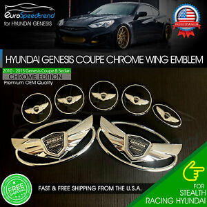 Hyundai Genesis Coupe Chrome Wing Emblem 3d Grille Sport Trunk 7 Pcs Set