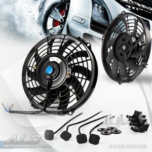 Universal 9 12v Slim Pull Push Racing Electric Radiator Engine Cooling Fan