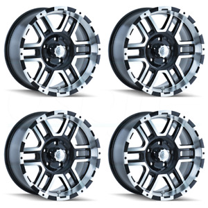 16x8 Ion 179 6x4 5 6x114 3 10 Black Machined Wheels Rims Set 4
