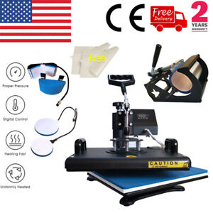 5 In1 Combo Heat Press Machine Swing Away Digital Sublimation T shirt Mug Hat Us