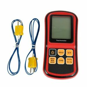 Gm1312 Digital Dual Channel Thermometer With 2 K type Thermocouple Sensor Tester
