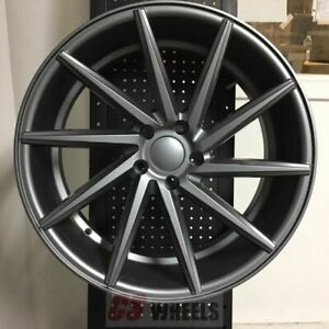 20 Swirl Style Satin Gunmetal Style Staggered Wheels Rims 5x114 3 5x4 5