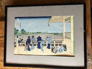 Pair Antique Japanese Woodblock Prints Hokusai Other Framed