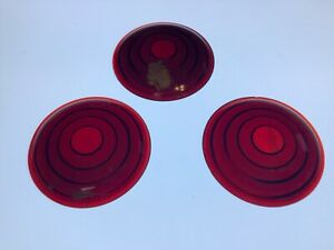 Nos Set 3 Vintage Red Glass Lens Truck Tail Light Early Auto Stop Lamp 2 11 16