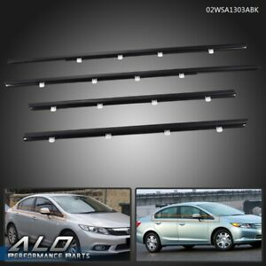 For Honda Civic 4pcs Car Weatherstrip Window Moulding Trim Seal Belt 2012 2015