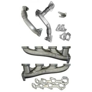 Ppe High flow Exhaust Manifolds With Up pipes For 07 5 10 Gm 6 6l Duramax Lmm