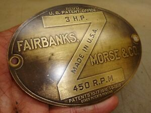 Original Name Tag Fairbanks Morse 3hp Z Hit And Miss Old Gas Engine