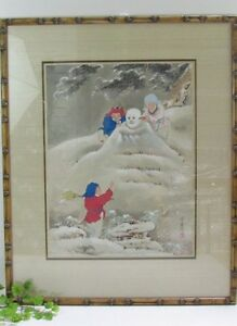 Japanese Ukiyo Woodblock Print Children Building Snowman Bamboo Frame Signed