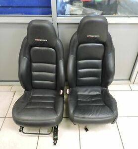 2005 2013 Chevrolet Corvette C6 Z06 Black Leather Red Stitching Seat Set