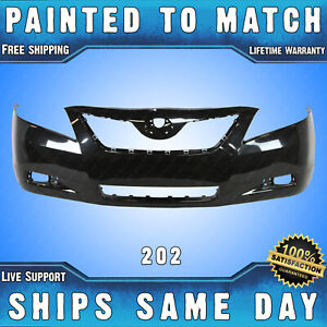 New Painted 202 Black Front Bumper Cover Fascia For 2007 2009 Toyota Camry