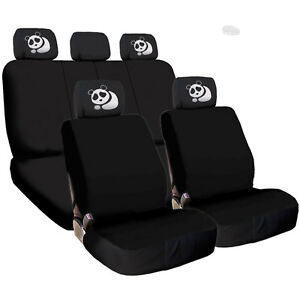 For Jeep New Black Flat Cloth Car Truck Seat Covers And Panda Headrest Cover