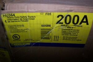 New Square D 200 Amp Non fused Safety Switch 600 Vac 150 Hp 3 Phase Hu364