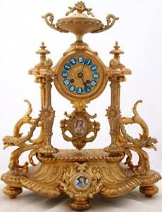 Antique Mantle Clock Beautiful Gilt Metal Hand Painted Porcelain 8day Striking