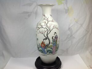 Late Qing Or Republic Chinese Famille Rose Calligraphy Vase