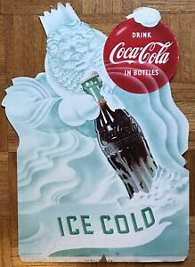 Scarce 1953 Coca-Cola Cardboard Counter Display Ice Cold Winter King Easel Back