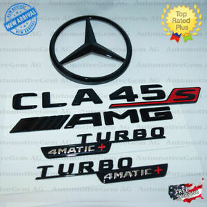 2020 C118 Cla45 Amg Turbo 4matic Rear Star Emblem Black Badge Set For Mercedes