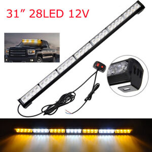 31 28 12v Waterproof Led Emergency Strobe Light Bar Traffic Advisor Amber