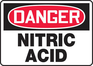 Accuform Mchl044xf10 Osha Danger Safety Sign Nitric Acid Pack Of 10