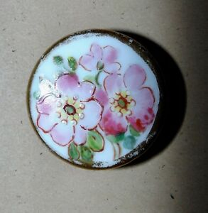 Antique Porcelain China Hand Painted Stud Button 5701