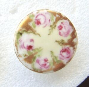 Antique Porcelain China Hand Painted Oval Stud Button Cd Ad