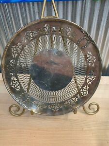 Vintage Silver Plated Serving Tray Pierced Rim