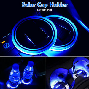 2pc Universal Car Solar Cup Holder Pad Led Illuminated Drink Mat Atmosphere Lamp