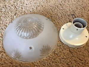 Antique Vintage White Frosted Ceiling 3 Hole Glass Light Globe 10 1 4 Diameter