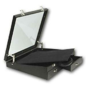 Black Leatherette Angled Display Jewelry Carrying Case 16 1 2 X 15 X 4 1 2