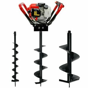 Post Hole Digger 55cc Powerhead 2 stroke Gas powered Auger With 4 8 12 Bits