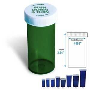 40 Dram Green Prescription Vials Safety Cap Pill Vials 50 pack