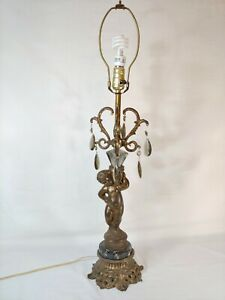 Vintage Brass Cherub Table Lamp With Marble Base Glass Prisms