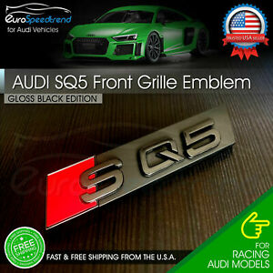 Audi Sq5 Front Grill Emblem Gloss Black For Q5 Sq5 Hood Grille Badge Nameplate