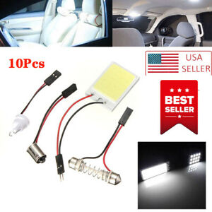 10pcs 48 Smd Cob White Panel Led T10 Car Interior Panel Light Dome Lamp Bulb Aw