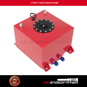 New 5 Gallon Red Polish Aluminum Racing Drift Fuel Cell Tank And Level Sender