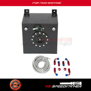 New 5 Gallon Black Aluminum Fuel Cell Tank cap level Sender steel Fuel Line Kit