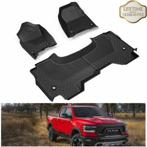 Front Rear Seat Tpe Floor Mats Liners For 2019 2020 Dodge Ram 1500 Quad Cab