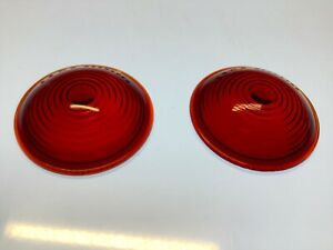 Pair K d Vintage Red Glass Lens Truck Tail Light Early Auto Stop Lamp 2 15 16