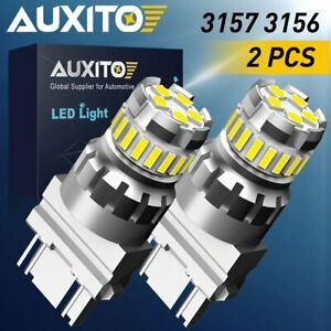 Auxito 3157 Led Reverse Brake Turn Signal Parking Light Bulbs 6000k White 2400lm