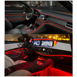4m Red Led Car Fiber Optic Interior Lights Decorative Ambient Light Strips Diy