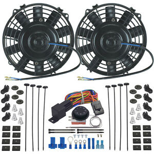 Dual 8 Inch Electric Oil Cooler Fan Adjustable Temp Controller Switch Wire Kit
