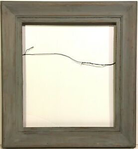1940s Modernist 18 X 16 Custom Carved Picture Frame Distress Grey Painted