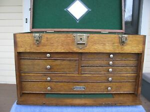 Gerstner Small Oak Machinist Wood Tool Chest Box
