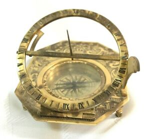 Solid Brass Nautical Sundial Compass Working Marine Prop Vintage Collectible